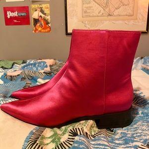 ZARA Metallic Pink Booties